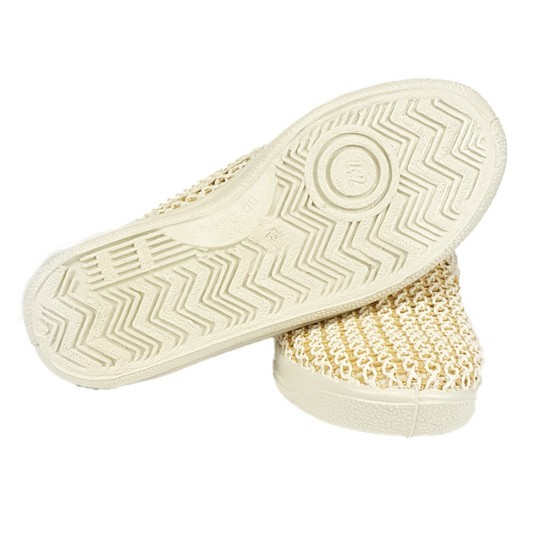 Плетени обувки с ластик бели